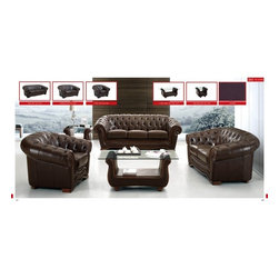 living room, leather, sofa, loveseat, modern - This brown living room set has an inviting appeal and comfort. Sofa, Loveseat and Chair are accented with rhinestones and wrapped in finest genuine Italian leather. Full leather comes standard for this set and you can always special order it in variety of colors. order it in variety of colors.