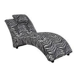 Chelsea Home - Chelsea Home Blaine Chaise Lounge - Zebra Multicolor - 23250-Z - Shop for Chaises from Hayneedle.com! There's only one and this is it -- CHEL1528 Chelsea Home Blaine Chaise Lounge - Zebra the seating option of a different color you've heard all about. Bold zebra print aside this lounger is a striking piece designed for years of use. It's upholstered in Dacron fabric that makes cleaning easy and fast. A solid kiln-dried hardwood and engineered wood construction with reinforced stress points provides stability and longevity. And its high-density cushions are supported with a no-sag spring system that maintains uniform seating. About Chelsea Home FurnitureProviding home elegance in upholstery products such as recliners stationary upholstery leather and accent furniture including chairs chaises and benches is the most important part of Chelsea Home Furniture's operations. Bringing high quality classic and traditional designs that remain fresh for generations to customers' homes is no burden but a love for hospitality and home beauty. The majority of Chelsea Home Furniture's products are made in the USA while all are sought after throughout the industry and will remain a staple in home furnishings.