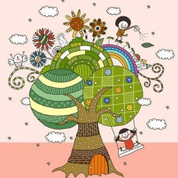 Wallmonkeys Wall Decals - Children Playing by Tree Wall Mural - 18 Inches H - Easy to apply - simply peel and stick!
