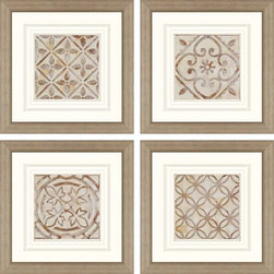 Paragon Decor - Moroccan Tiles Set of 4 Artwork - Rosette patterns in beige and brown are matted in warm white for an elegant look.
