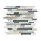 Glass & Stone Mosaic - Ceramic Tileworks - Bliss Glass & Stone Mosaic Tile - Random Silver Aspen