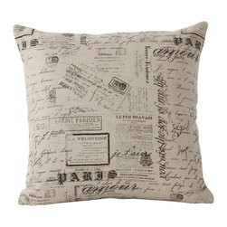 Zentique - Scripted Pillow - Hot off the presses, enjoy the antique quality of this modern day square, natural linen accent pillow, perfect for a den or office. The French print and stamps motif are sophisticated and capricious. This little pillow will definitely be a conversation piece for Francophiles and non-Francophiles alike!