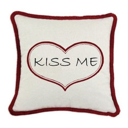 D'Kei Valentines Graphic Pillow Kiss Me - Embellish your home décor with the fun D'Kei Valentines Graphic Pillow Kiss Me. Constructed of 75% cotton with a 25% linen cover, this stylish pillow uses eco-friendly water-based inks. This comfortable pillow is stuffed with 100% hypoallergenic polyfill. Printed within a red heart reads the words Kiss Me in black. The cord edging features a soft red brush fringe that hides the zipper closure along the seam. Made in the USA.