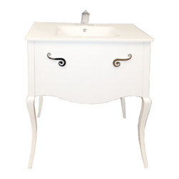 "Macral - Viena 32"" Bathroom Vanity - Cabinet made of solid wood white high gloss lacquer with one spacious drawer with soft close. Incorporates exclusive details like Sol Key handle Polished chrome. Porcelain glass countertop with overflow. Faucet is not included."