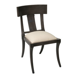 Kathy Kuo Home - Tabor Global Bazaar Black Wood Dining Chair - Pull up this classic dining chair and get comfortable around the table or in the sitting room. Beautiful, hand-crafted mahogany legs curve gracefully inward and upward, supporting an elegant, rectangular frame. Off-white canvas upholstery finishes this inviting seat.