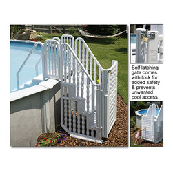 """Blue Wave - Blue Wave Easy Step Entry System with Gate - Easy pool step; entry. Make getting into and out of your above-ground pool a snap with this deluxe maintenance-free entry. Made from non-corroding vinyl, this 4-step entry. The solid dual handrails and non-skid steps ensure trouble-free use by everyone. Designed to fit round or oval pools, 48"""" - 54"""" in depth. The top of the entry. The weight of the gate causes it to close if left open, and gate is lockable for added pool security. Our entry. The entry. And ships by ups or FedEx. Backed by a 3-year warranty."""