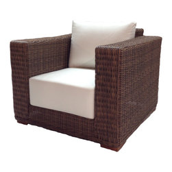 Wicker Paradise - Outdoor Wicker Chair Sunbrella Natural Cushions - Patio Style - Deep seating for deep relaxation. This extremely stylish outdoor chair is made from woven polyethylene wicker on an aluminum frame, topped with ultra-plush 9-inch thick cushioning. Your favorite seat in the house might not be inside your house anymore.