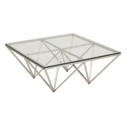 "Origami Coffee Table 35"" - The Origami Coffee Table is a large piece that is perfect for modern contemporary living. It's base is very dynamic and edgy. The steel frame stands on four points that angle out creating a look of symmetry and balance."