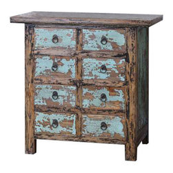 Uttermost Camryn Aged Accent Chest - Constructed with antique chinese tradition, the solid elm wood drawers and cabinet are beautifully finished in vibrant robin's egg blue and black crackle, heavily distressed to show wood grain undertones. Constructed with antique chinese tradition, the solid elm wood drawers and cabinet are beautifully finished in vibrant, robin's egg blue and black crackle, heavily distressed to show wood grain undertones.