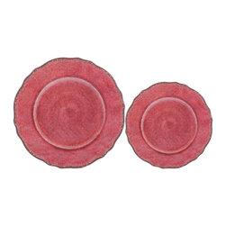 Le Cadeaux - Antiqua Red 16 Plate Melamine Dinnerware Set, Red - Triple strength melamine - not microwave safe but dishwasher safe.