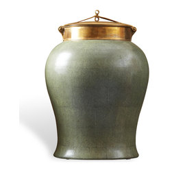 Kathy Kuo Home - Jade Shagreen Asian Porcelain Bronze Lidded Tea Jar - Make history with this porcelain tea jar, an icon of Asian culture. Akin to its ornamental and ceremonial roots, this jade and bronze artifact with craftsman ship on the lid can be a monumental display. Or, in contrast, can store miscellany when guests arrive unannounced.