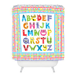 "Andi Bird Alphabet Monsters Shower Curtain - ""A"" is for awesome. This bright, colorful shower curtain is a perfect bathroom addition for kids or kids at heart. Triangles, lines, dots and lively letter-creatures are custom printed in crayon colors on white woven polyester. Sure to wake up your bath, it's a great way to spell fun."
