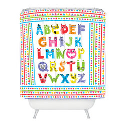 "DENY Designs - Andi Bird Alphabet Monsters Shower Curtain - ""A"" is for awesome. This bright, colorful shower curtain is a perfect bathroom addition for kids or kids at heart. Triangles, lines, dots and lively letter-creatures are custom printed in crayon colors on white woven polyester. Sure to wake up your bath, it's a great way to spell fun."