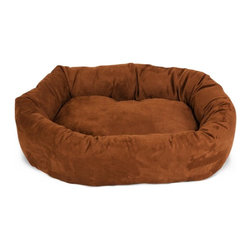 """Majestic Pet Products - 32"""" Rust Micro-velvet Bagel Dog Bed - Give your pet 360 degrees of comfort with Majestic Pet Products 32"""" Rust Micro-velvet Bagel Pet Dog Bed. Designed for both comfort and style, the bolster and cushion are made of a durable micro-velvet and stuffed with Super Premium High Loft Polyester Fiber Fill. The base of the bed is made of a heavy duty, water proof 300/600 Denier to prevent the bed from sliding and to keep it safe from any spills or accidents. Our bagel beds are easy to clean - just place the entire bed in the washer on gentle cycle and air dry."""