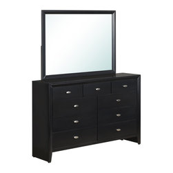Global Furniture - Global Furniture Dresser Black - The Carolina bedroom collection boasts a rich black finish featuring a three tiered upholstered headboard with tufted details complete with large mirror and brushed nickel hardware your bedroom will be instantly upgraded.