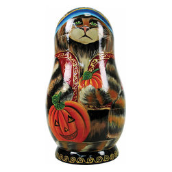 """Artistic Wood Carved Russian Matreshka Doll with Ornaments Sculpture - Measures 9""""H x 5""""L x 4""""W and weighs 2 lbs. Carefully open this Matreshka doll in the middle to reveal a whole collection of hidden treasures. Each ornament tells a story and are freehand painted in rich colors. Each piece was created in the art villages of Russia to our exacting standards for a lifetime of beautiful memories. The adorable hand painted ornament dolls make a great gift and/or collectible. This Russian Matreshka doll has ornaments inside that were beautifully handmade by a Russian artist. Each ornament inside the doll tells a story and are freehand painted in rich colors."""