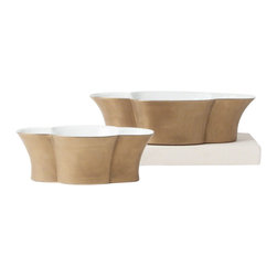 """Studio A - Quatrefoil Wide Matte Gold Planter - Classic motifs meet contemporary style on this modern planter. Featuring a glazed white interior, this wide, quatrefoil-shaped accent dazzles in an antique gold finish. Sold individually; Made from porcelain; For decorative use only; Small: 12.25""""W x 6.5""""D x 4""""H; Large: 16""""W x 9""""D x 4.5""""H"""
