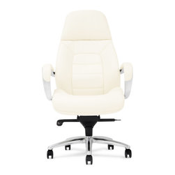 Zuri Furniture - Gates Genuine Leather Aluminum Base High Back Executive Chair - Cream - Sleek, sharp and professional, our Gates executive desk chair collection shines all the way from its sturdy aluminum swivel base to its supple genuine leather. The ergonomic design and synchronized mechanism create a comfortable workspace, placing your office on the cutting edge of corporate success. In addition, the waterfall seat design eliminates leg fatigue. Available for purchase today in black, dark chocolate, cream and white.PRODUCT DETAILS:- 28.08(W) x 29.64(D) x 47.97-51.09(H)- Adjustable Height: 22.62-25.74 (inches)- Synchronized Mechanism with 4 Position Lock and Chrome Gas Lift.- Leather Upholstered with High Density Foam Padding.