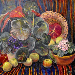 Original Large Oil Painting, Still Life With Begonia - This is one of my favorite still life works. I used deep blue and burgundy colored oriental carpets, begonia and violets, and some fruits. I found this combination absolutely beautiful in color, it looks more monumental and will be very unique decor for your home. Deep contrast and saturated colors will attract your eyes all the time.