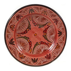 "Ceramic (Wood-fired) - Rose Carved Decorative Plate, 9"" - Rose Carved Decorative Plates from Morocco"