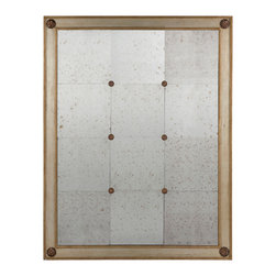 "Kathy Kuo Home - French Country Lommel Gold Silver Rosette 50"" Mirror - Antique mirrored panels are framed by wood with an Aged Silver and Gold finish and adorned with gold medallions."