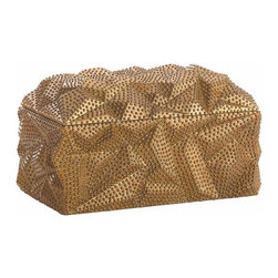 Arteriors Home - Baroque Box - Baroque Box features a carved shape and pattern rooted in folk art, but the finish is reminiscent of gilded items found in the cathedrals of Italy and Spain. This resin lidded box in Antique Gold is the perfect hiding place for your remote controls. 12 inch width x 7 inch height x 7.5 inch depth.