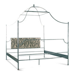 Kathy Kuo Home - Dalton French Country Rustic Metal Old World Canopy Bed - King - Sweet dreams are made of this!  This gorgeous bedframe with canopy proves that traditional French style can be seriously sophisticated yet understated and devoid of  frou-frou details.  A screen-printed headboard completes the look.  Add a flourish of bed curtains to complete the look.