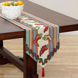 None - Patron 72-inch Table Runner - This runner features imagery of different colored hot peppers on a striped background and roses on ends along with bright red tassels dangling off. The table runner measures about six feet long to cover just about any table.