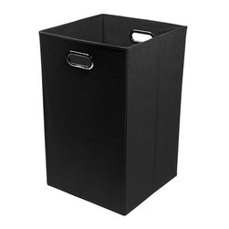 None - Smarty Pants Solid Black Folding Laundry Basket - Keep laundry tidy,organized and add a pop of colorful decor to a room with this folding laundry bin.