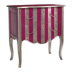 Frontgate - Fontenay Commode/Chest in Silver and Pink - Mahogany wood with metallic silver and pink finish. Solid pink top. Two drawers with silver hardware. Coordinates with other items from our French Heritage Uptown Collection. There's no better way to bring joie de vivre to a ho-hum room than with thick pink stripes. Our Fontenay Commode/Chest takes traditional lines and materials - mahogany wood, cabriole legs, a serpentine skirt, and classic silver pulls and key escutcheons - and finishes them with exuberant metallic silver and pink stripes that continue onto the skirt.  .  .  .  .