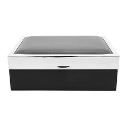 Men's Black Leather Jewelry Box - This rich,�classy�jewelry box makes the perfect gift with its mix of textured leather, suede and stainless steel accents.