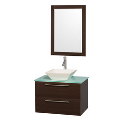 Wyndham - Amare 30in. Wall Vanity Set in Espresso w/ Green Glass Top & Bone Procelain Si - Modern clean lines and a truly elegant design aesthetic meet affordability in the Wyndham Collection Amare Vanity. Available with green glass or pure white man-made stone counters, and featuring soft close door hinges and drawer glides, you'll never hear a noisy door again! Meticulously finished with brushed Chrome hardware, the attention to detail on this elegant contemporary vanity is unrivalled.