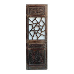 Golden Lotus - Chinese Lettuce Pattern Wood Panel Decor - This is an old Chinese wood panel with lettuce pattern at the center. Relief carving of oriental people  and flowers is at the top and bottom. It is rustic with worn off marks and wood crack. Loose part will be fixed.