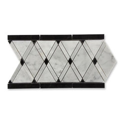 GlassTileStore - Imperial Pavo Blend Border - Imperial Pavo Blend Border    This marble mosaic will provide endless design possibilities from contemporary to classic.      Color: White Carrera, Light Gray and Black   Material: Marble   Finish: Polished   Sold by the Piece - 6x12   Thickness: 10mm    - Glass Tiles -