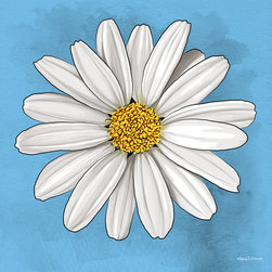"Maxwell Dickson - Maxwell Dickson ""White Daisy"" Wall Art Canvas Print Abstract Pop Art Modern - We use museum grade archival canvas and ink that is resistant to fading and scratches. All artwork is designed and manufactured at our studio in Downtown, Los Angeles and comes stretched on 1.5 inch stretcher bars. Archival quality canvas print will last over 150 years without fading. Canvas reproduction comes in different sizes. Gallery-wrapped style: the entire print is wrapped around 1.5 inch thick wooden frame. We use the highest quality pine wood available."