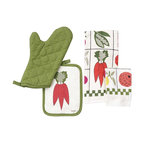 Renovators Supply - Towels White Cotton Veggie Hand Towel Set - Kitchen Towel & Potholder Set. Country Charm and 100% cotton for easy care. Set inludes dish towell, dish cloth, oven mitt and a pot holder.
