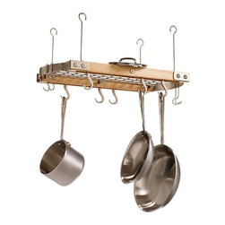Small Maple Ceiling Pot Rack - This is so much better than stooping to get the pots and pans from a cupboard. If I had this, I would definitely invest in copper pots to show off.
