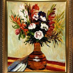 None - Pierre-Auguste Renoir 'Rose in a Vase' Hand Painted Framed Canvas Art - Artist: Pierre-Auguste RenoirTitle: Rose in a VaseProduct type: Hand painted art