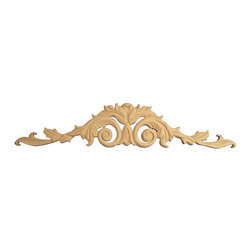 """GlideRite Hardware - Hand-Carved Solid Hardwood Acanthus Leaf Applique, Cherry, Large - GlideRite brand Applique, hand-carved by skilled craftsmen and from grade """"A"""" North American solid Hardwoods.  These ornamental high quality Applique's are triple sanded and ready to accept paint or stain.  This applique is available in three sizes: 12"""", 18-3/8"""" and 27-1/2"""", and four wood types: Alder, Red Oak, Hard Maple, & Cherry - the perfect architectural upgrade to any kitchen or den."""