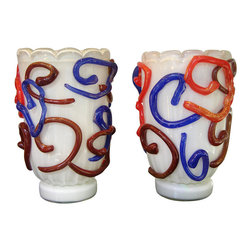 Vintage Pair of Modernist Murano Glass Vases by Costantini - Antique Murano glass vases are always a win-win in a room, and these '80s pieces are particularly charming. They do not need to be filled with anything. Just put them out on a table, fireplace mantel or credenza and voilà!