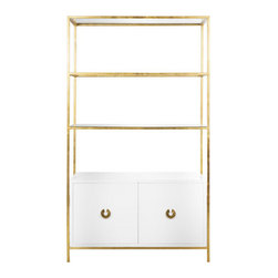 Worlds Away Wyeth Shelf, Gold Leaf - Lacquer cabinet with gold leaf or nickel frame and glass shelves.