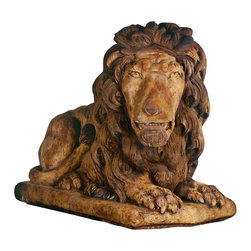 "Lamps Plus - Themed Henri Studio Grand Lion Facing Right Garden Sculpture - A reclining lion has been used in entryways and as garden sculpture designs for ages. This large handsome fellow in repose faces right and can be placed with his left-facing counterpart or displayed alone. Makes a wonderful garden accent a majestic indoor sculpture or a watchful guardian at the entrance to your home. Traditionally used in pairs on either side of a front door. Cast stone construction. 39"" long. 21"" wide. 32"" high.  Cast stone lion sculpture.  Relic barro finish.  Due to its natural components variations in color and texture will occur.  Custom made to order; please allow extra time for delivery.  Hand-made in the USA by Henri Studio.  32"" high.  39"" deep.  21"" wide."