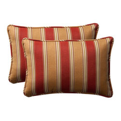 Pillow Perfect - Decorative Red/Gold Striped Toss Pillow Rectangle  Set of Two - - Red/Gold  - 100% Polyester  - 100% Virgin Recycled Polyester Fill  - Self-Cord Edge  - Fade Resistant Mildew Resistant UV Protection Water Resistant Weather Resistant  - Made in USA Pillow Perfect - 387086