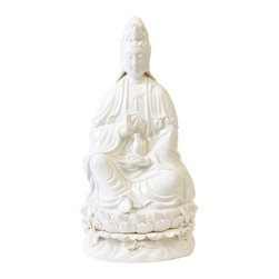 """Bungalow 5 - Bungalow 5 Guan Yin Statuette - Eclectic chinoiserie style forms the Bungalow 5 Guan Yin statuette's decorative design. In hand-painted white porcelain, this stylish sculpture displays visual intrigue. 9""""W x 8""""D x 18.5""""H; Hand-painted white porcelain"""
