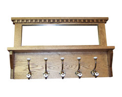 """Palmer Union Design - Antique-Look Coat Rack With Mirror - Antique Style Coat Rack with Mirror and Shelf can be custom made in oak, cherry or knotty alder. This beautiful Mirrored Antique Style style coat rack would make a lovely addition to any room. It definitely has the look of an antique. Measures 18"""" tall by 30"""" wide."""
