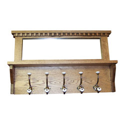 "Palmer Union Design - Antique-Look Coat Rack With Mirror - Antique Style Coat Rack with Mirror and Shelf can be custom made in oak, cherry or knotty alder. This beautiful Mirrored Antique Style style coat rack would make a lovely addition to any room. It definitely has the look of an antique. Measures 18"" tall by 30"" wide."