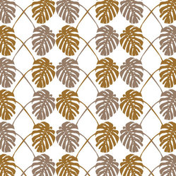 Split Leaf Wallpaper Amber, Set of 2