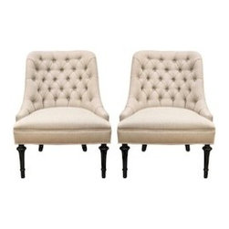 Mid- Century Slipper Chair Pair - Excellent quality pair of 1960's tufted Slipper chairs with sublime proportions. The pair are custom re-upholstered in a quality Oyster Linen, with Dark Wood Turned Legs.Extraordinary!