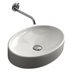 "WS Bath Collections - Cento 3552 Oval Vessel Ceramic Bathroom Sink 19.7"" x 13.8"" - Cento by WS Bath Collections Bathroom Sink, Designed by Marc Sadler of Italy, counter top or wall mount installation, in ceramic white"