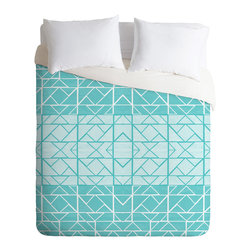 DENY Designs - Gneural Shifting Pyramids Cyan Duvet Cover - Turn your basic, boring down comforter into the super stylish focal point of your bedroom. Our Luxe Duvet is made from a heavy-weight luxurious woven polyester with a 50% cotton/50% polyester cream bottom. It also includes a hidden zipper with interior corner ties to secure your comforter. it's comfy, fade-resistant, and custom printed for each and every customer.